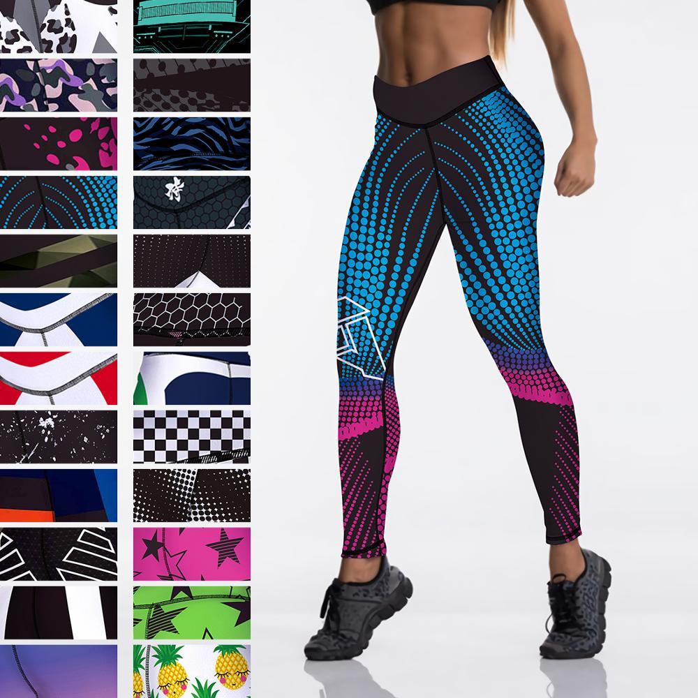 Qickitout 12%spandex  High Waist Elasticity Women Digital Printed Leggings Push Up Strength Pants