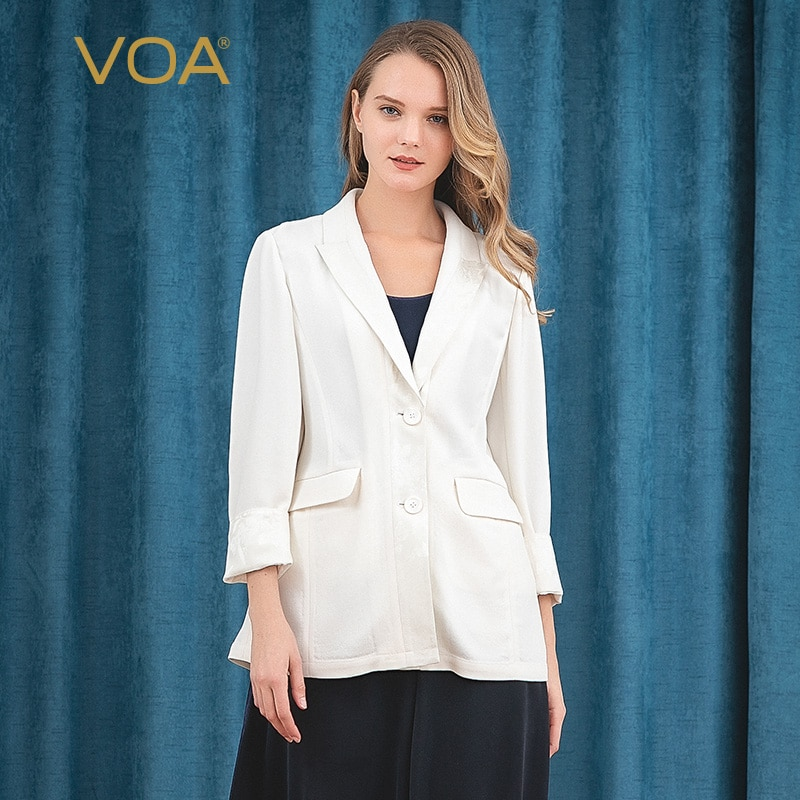 VOA ضوء البيج 60 متر/شهر الوزن الثقيل الحرير الظلام الجاكار خياطة واحدة الصدر الجانب الشق بسيط هش قميص W395