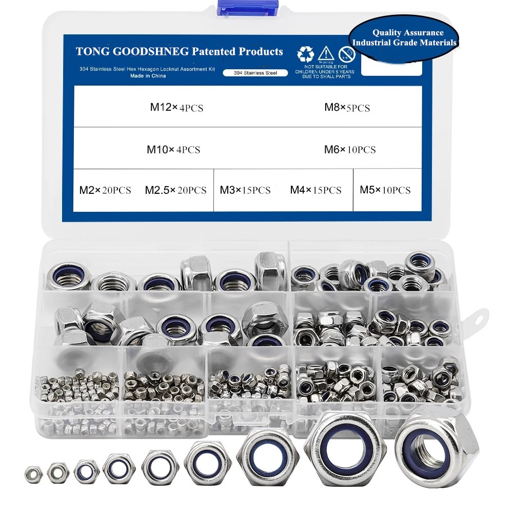 صمولة قفل نايلون من الفولاذ المقاوم للصدأ ، مجموعة متنوعة من صواميل الربط ، 304 ، M2 ، M2.5 ، M3 ، M4 ، M5 ، M6 ، M8 ، M10 ، M12 ، سداسية