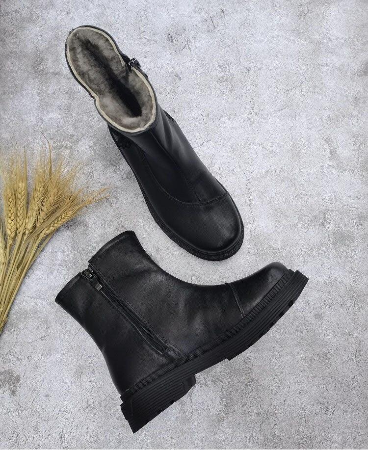 de inverno quente sapatos de plataforma grossa botas de tornozelo plana