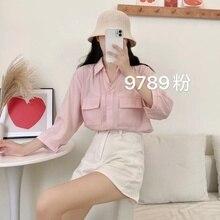 2021 Korean New Autumn BF Style Fashionable Pocket Shirt