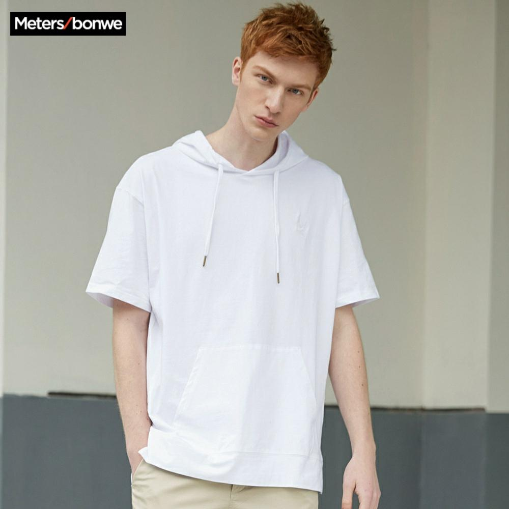 Metersbonwe Hoodies Casal Para Homens e Mulheres Casuais Novo curta-mangas compridas pullover rua Hoodies das Mulheres dos homens