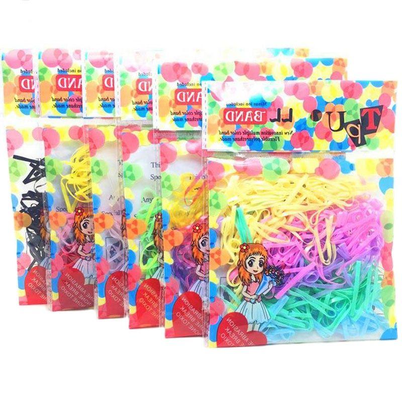 150 шт./лот ТПУ резинки Hairband Веревка держатель красочные галстуки эластичные для девочек женские аксессуары для волос