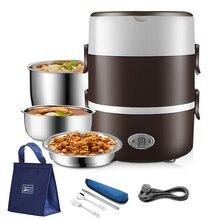 2 3 warstwy 220V elektryczne pudełko na lunch podgrzewacz żywności ze stali nierdzewnej pojemnik ogrzewanie cieplej Mini Bento ryżowar biuro przenośne