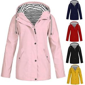 Women Waterproof Jacket Coat Outdoor Hiking Camping Lightweight Hooded Raincoat Autumn Winter Zipper Pockets Windbreaker Outwear