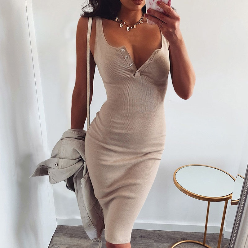 Summer Women Dress 2020 New Knee-Length Dresses Knitted Elastic Sleeveless Woman Sexy V-Neck Button Party Slim S-L