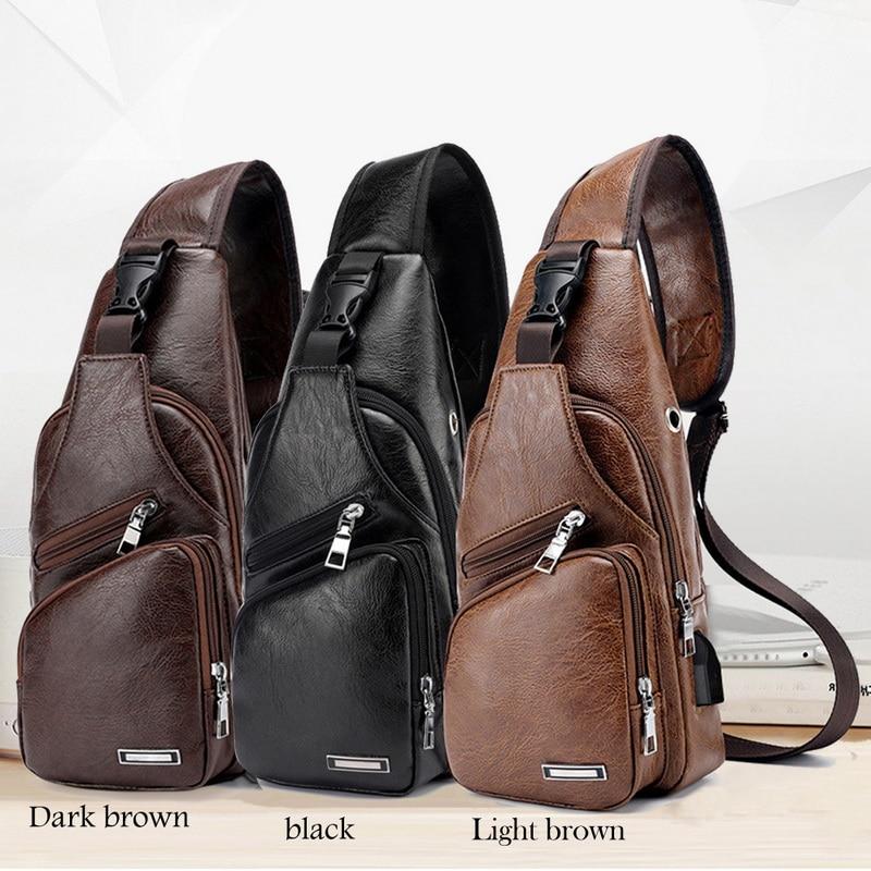 Bolso de pecho de cuero PU para hombre, mochila de pecho con USB y orificio para auriculares, bolso de hombro tipo bandolera de viaje funcional, riñoneras masculinas