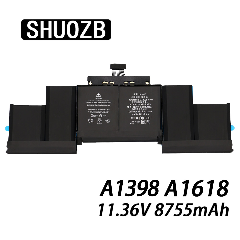 "Promo A1618 Laptop Battery for Apple Macbook Pro Retina 15"" 15.4 inch A1398 2015 year MJLQ2LL/A MJLT2LL/A New 11.36V 8755mAh SHUOZB"