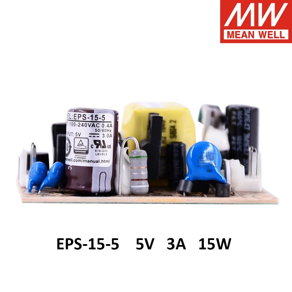 Meanwell EPS-15 única salida PSU abierta ac-dc fuente de alimentación 15W 3,3 V 5V 7,5 V 12V 12V 15V 24V 27V 36V 48V 48V 1A 2A 3A mini tamaño