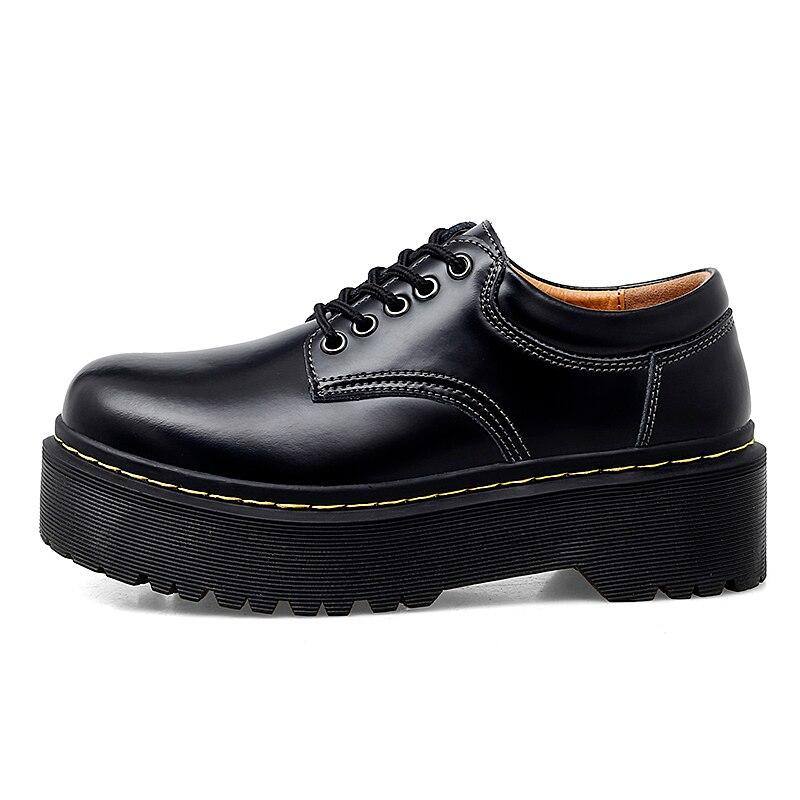 Primavera y otoño 2020, zapatos de cuero Retro, zapatos de estudiante británicos, zapatos de mujer con fondo rebelde ancho, zapatos de trabajo de talla grande para mujer