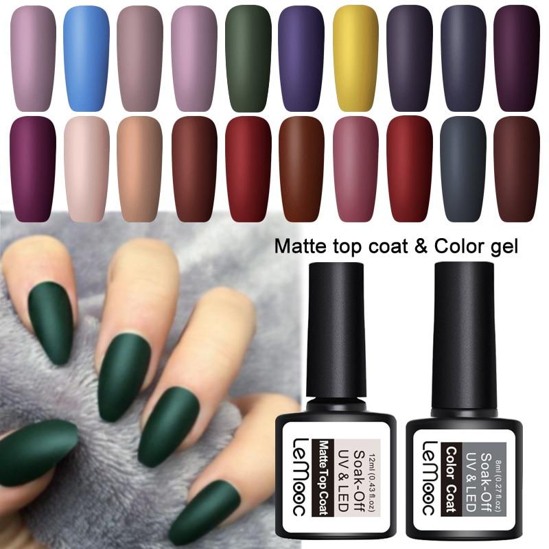 LEMOOC 8ml Nail Art UV Gel Nail Polish Semi Permanent Soak Off Matte Top Coat Gel Varnish Nail Art Gel Paint varnish