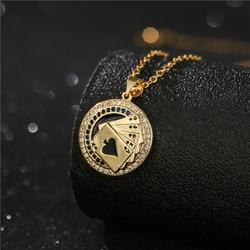 Colar de pingente de poker para mulheres colar de corrente de ouro aaa cz dos homens boa sorte festa jóias