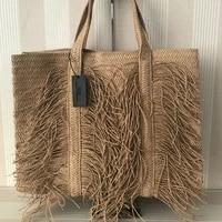 large capacity tassel straw bag women shoulder bag handmade woven women handbag big bohemia beach straw womens bag shopper tote