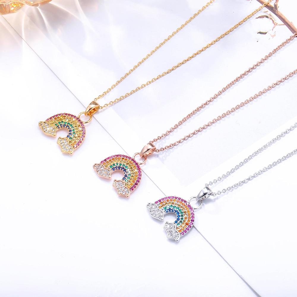 Colorido zircônia cúbica arco-íris pingente colar para as mulheres ouro pequeno bonito gargantilha curto colar acessórios jóias presentes 2020