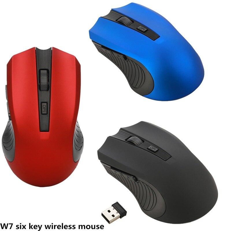 Беспроводная портативная оптическая мышь 2,4G с usb-приемником, 3 регулируемых уровня DPI, 6 кнопок для ноутбука