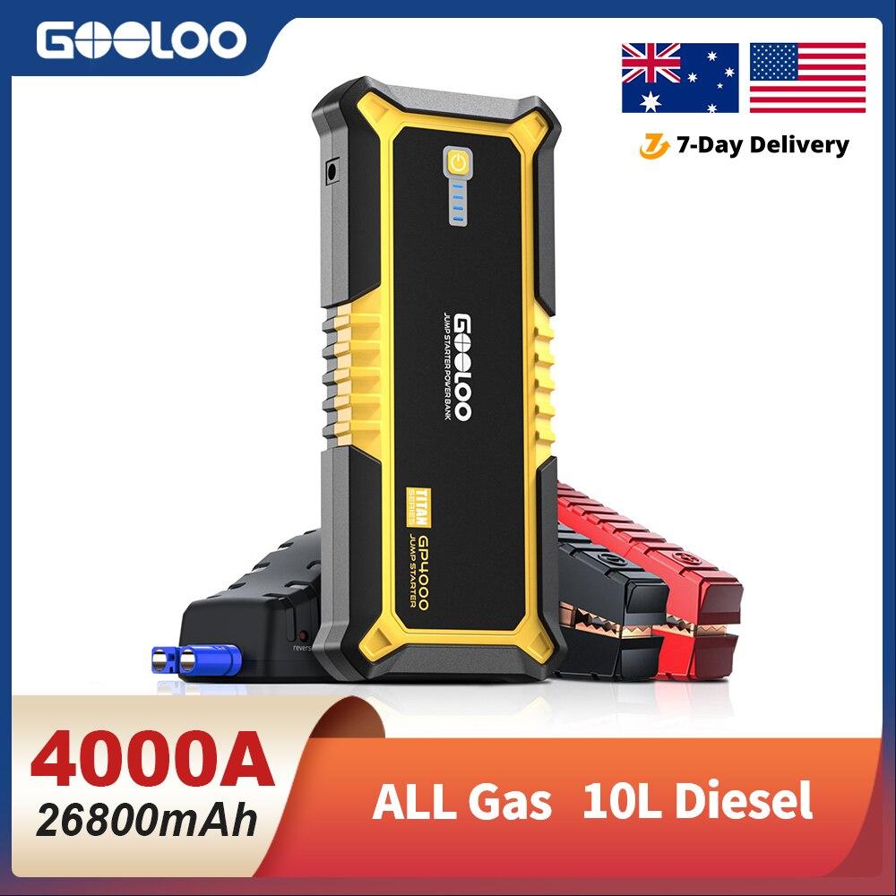 GOOLOO 4000A Start Power Bank 26800mAh Jump Starter Car Booster External Battery 12V Starting Device