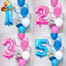 12 pièces rose bleu numéro feuille Latex ballons numérique 1 2 3 ans fête danniversaire décoration enfants jouets fille garçon bébé douche ballon