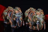 8 tibet buddhism natural meteorite filigree gem dzi bead elephant statue a pair gatekeeper ward off evil spirits town house