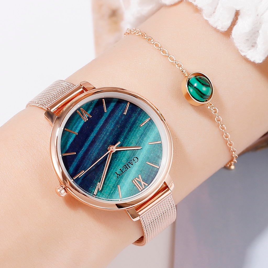 Gaiety Luxury 2 PCS Set Watch Women Rose Gold Water Drill Bracelet Watch Jewelry Ladies Female Hour