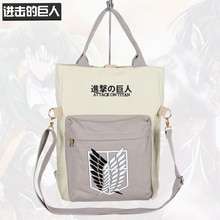 Cartoon Anime Attack on Titan Cross Body Bag Men Messenger Canvas Shoulder Bag Teenager School Book Tote Women Hanabags