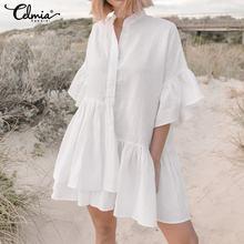 2020 Celmia Zomer Ruffle Mini Jurk Vrouwen Sexy V-hals Casual Onregelmatige Plisse Shirt Jurk Plus Size Party Beach Vestidos Mujer