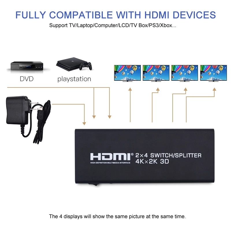 2X4 HDMI Splitter 2 In 4 Out HDMI Switch with SPDIF Audio 3.5mm Support HD 4K 3D 1080P Includes IR Remote Control Power Adapter enlarge