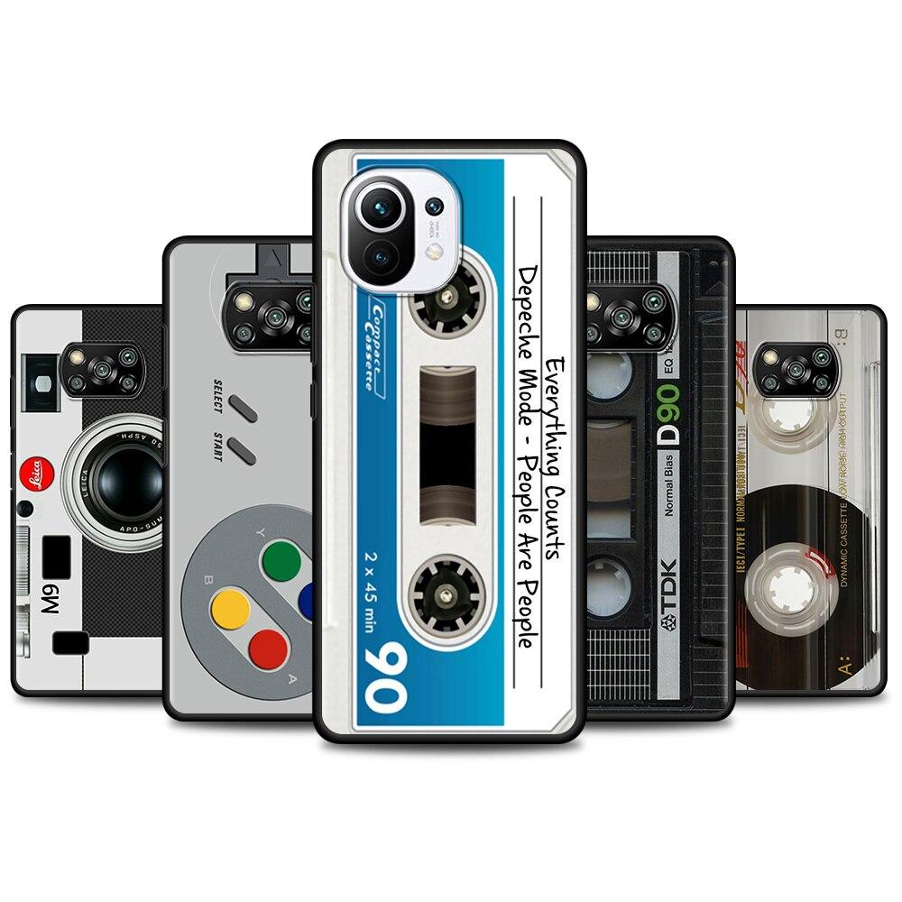 Funda de teléfono Retro Vintage Para cámara, carcasa de TPU negra, Cassette...
