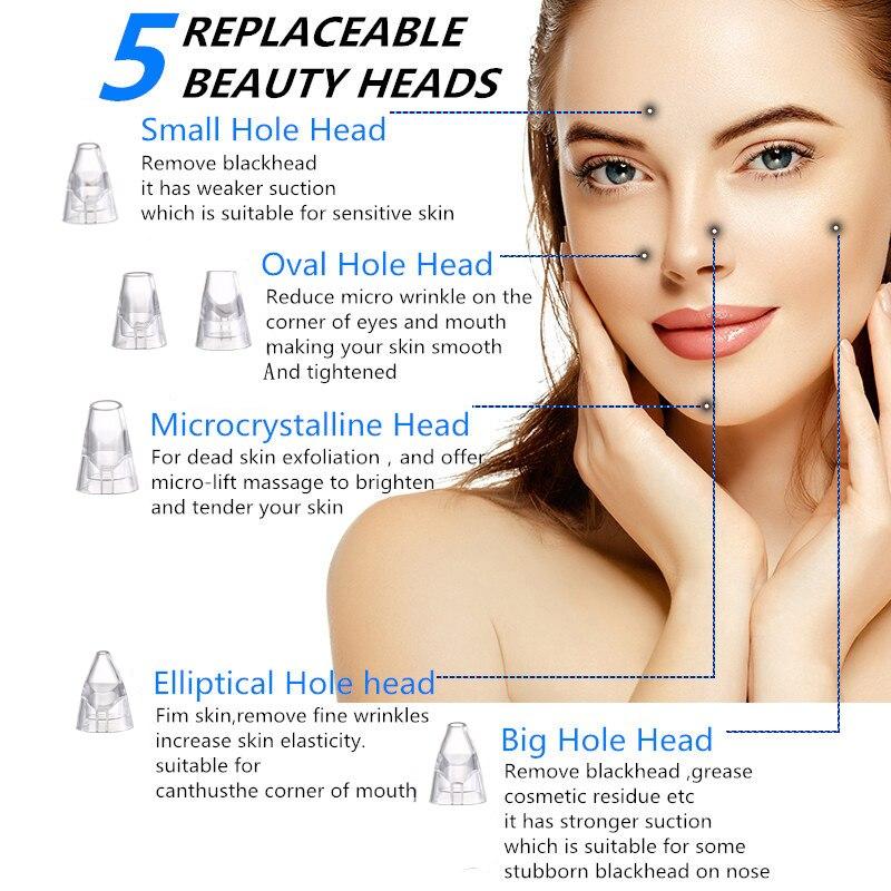 Blackhead Remover Vacuum Suction Removal Nose T Zone Pore Vacuum Acne Pimple Tool Facial Diamond Dermabrasion Machine Face Clean