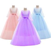 Baby Mädchen Kleidung 7 Farbe Mode Gestickte Mesh Mädchen Kleid Nette Bogen Prinzessin Party Formale Kostüm 3-14 Jahre alte Kinder Kleidung
