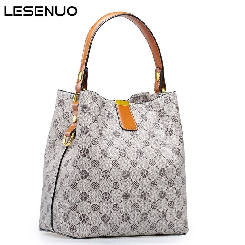 LESENUO 2021 New Fashion Crossbody Bag Women Bucket Bag Vintage Luxury Brand Bag Large Capacity Designer Handbags for Women