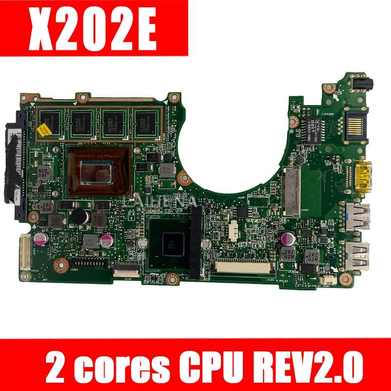 Placa base X202E 2GB REV 2,0 2 núcleos para placa base de ordenador portátil ASUS X201E S200E X202E placa base X202E