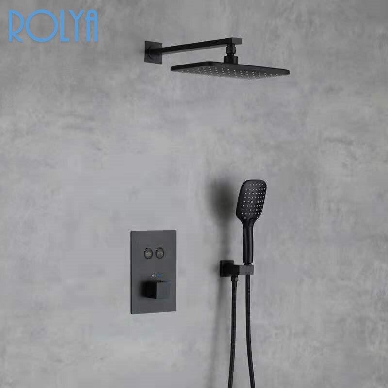 الحائط نظام صمام تنظيم الحرارة الأسود النحاس دفع زر دش صنبور المطر الحمام دش الحنفية الحمام دش مجموعة