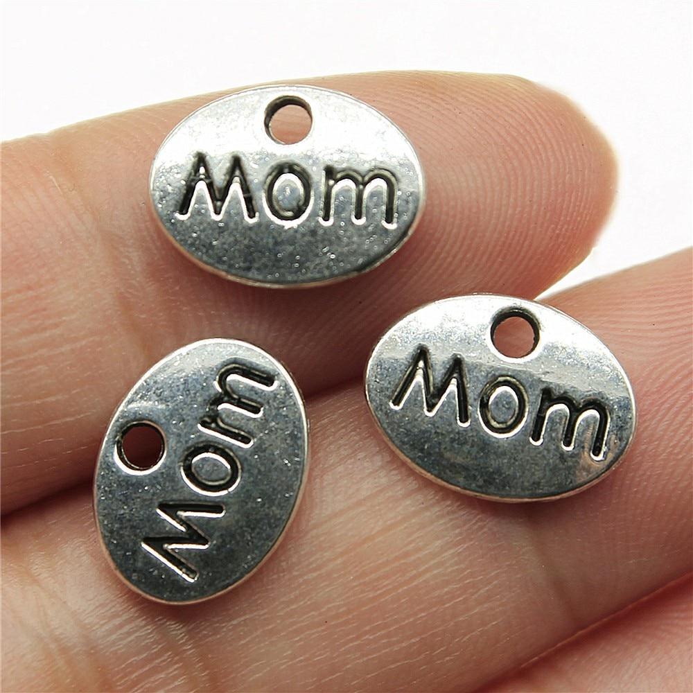 12 piezas de dijes de mamá de 12x9mm para hacer joyas dijes de mamá de Color plata antigua de doble cara dijes de mamá