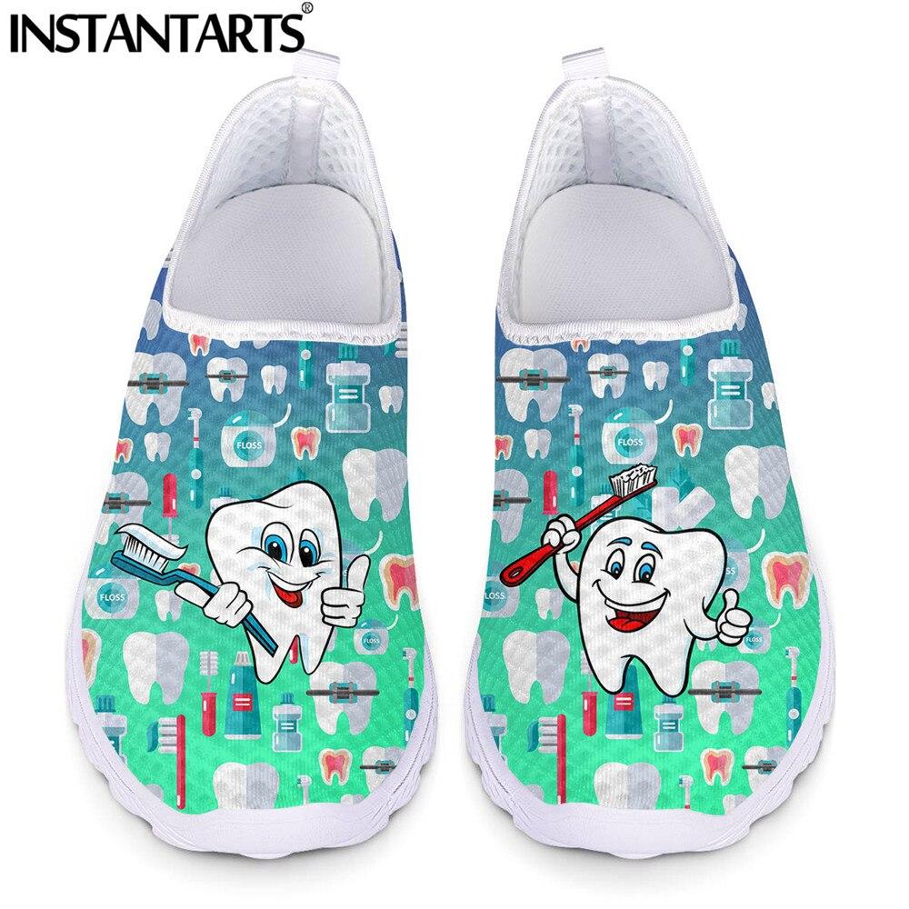 Deslizamento em Sapatos Engraçado dos Desenhos Padrão de Malha Instantarts Casual Dentários Mulher Sapatilha Plana Animados Dente – Dentista Senhoras Sapato Luz Mocassins