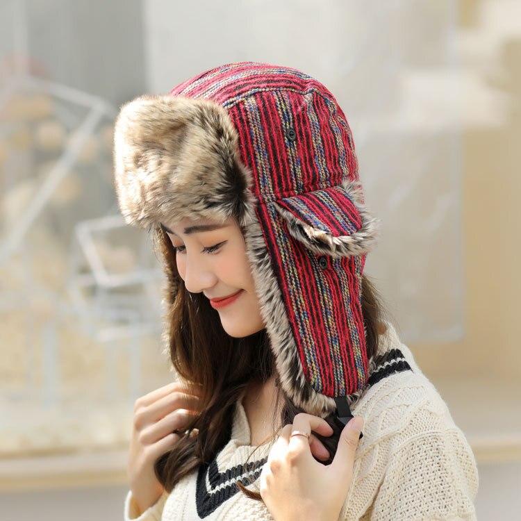 New Windproof Warm Hat Winter Warm Bomber Hats Men Women Thermal Hat Trooper Snow Ski Hat Cap Stripe