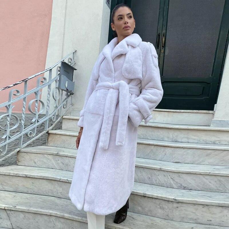 BFFUR موضة طويل فرو منك معاطف النساء أبلى عالية الجودة معطف الفرو الطبيعي امرأة فاخرة كاملة بيلت فرو منك معاطف العصرية