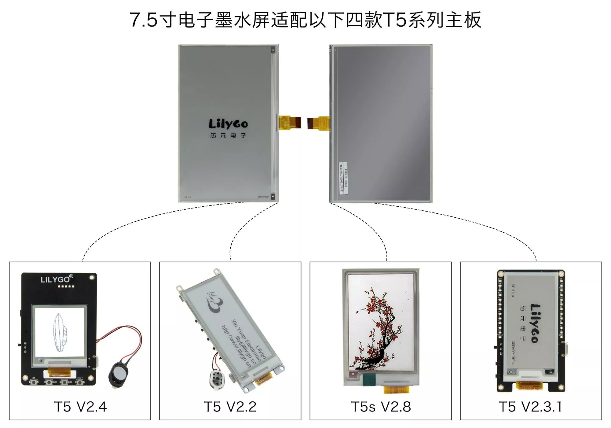 LILYGO® 7.5 inch e-ink display compatible with T5 motherboard enlarge