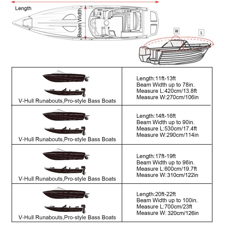 Aunct 11ft - 22ft 210D Trailerable Boat Covers Waterproof Rain Proof Sunproof UV Protector Speedboat Boat Cover Fishing Ski D45 enlarge