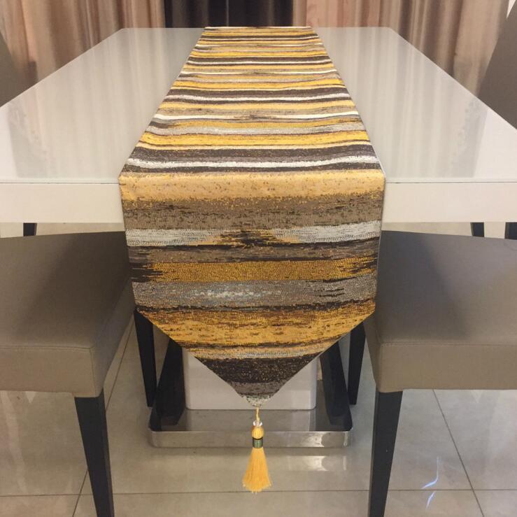 Fyjafon الجدول عداء البوليستر العدائين الحديثة الملونة شرائط الديكور الجدول عداء غطاء السرير الطويل 32*210 الأزرق/الذهب