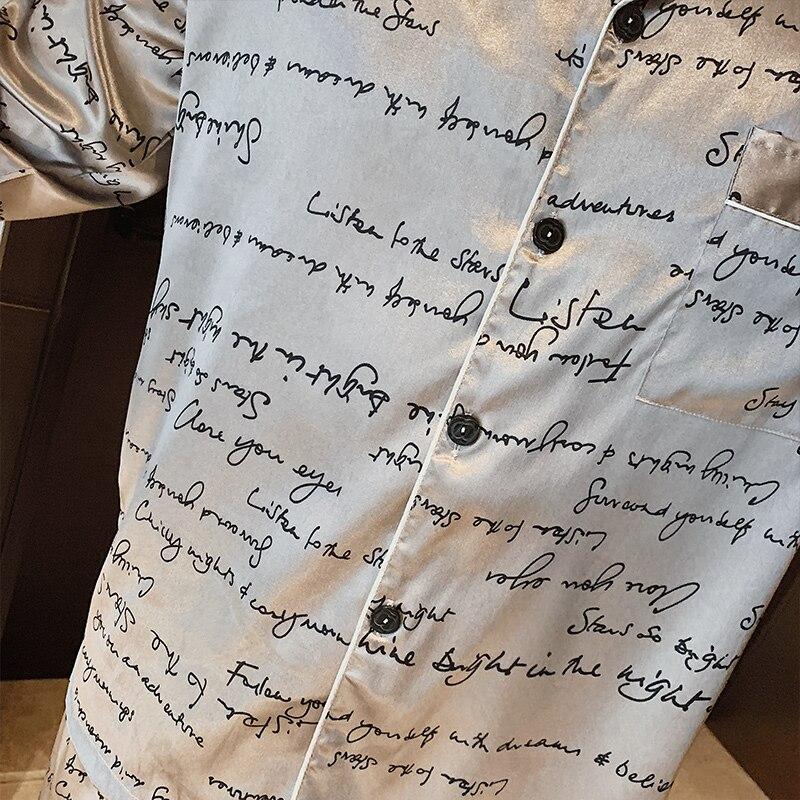 Весна Осень Мужчины Атлас Шелк Пижамы Комплекты С Длинным Рукавом Брюки Мужские Пижамы Новинка Одежда для сна Отдых Дом Одежда Пижама Hombre