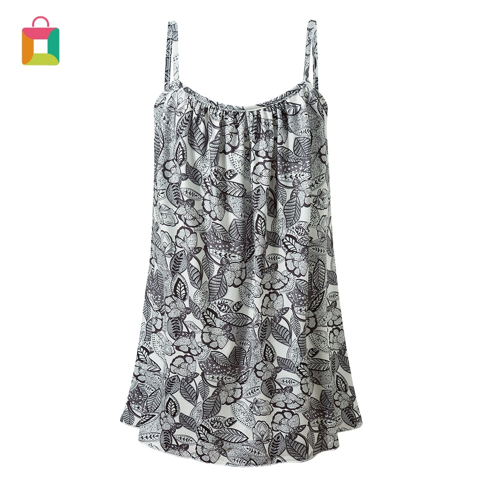 Feminino imprimir colete longo flowy camis topo solto cami plissado swing elegante cinta de espaguete glittery