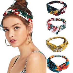 New Fashion Women Headband Print Plants Flowers Hair Band Cross Knot Turban Bandage Vintage Head Wrap Hair Accessories headband