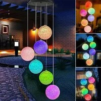 solar led light outdoor color changing wind chime ball lamp spiral crystal ball solar wind chime string garden lights outdoor