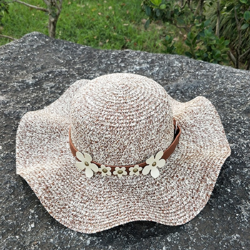 CANZE Summer Ladies Sun Hat Sunscreen Beach Hat Foldable Sandal Hat Outdoor Shade Flower Straw Hat girls flower decorated straw hat