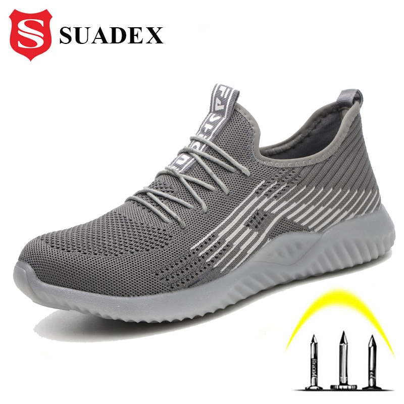 Sapatos de Segurança Sapatos de Trabalho de Segurança Tampão de Aço Tênis de Trabalho Respirável para o Trabalhador Suadex Homem Mulher Anti-esmagamento Leve