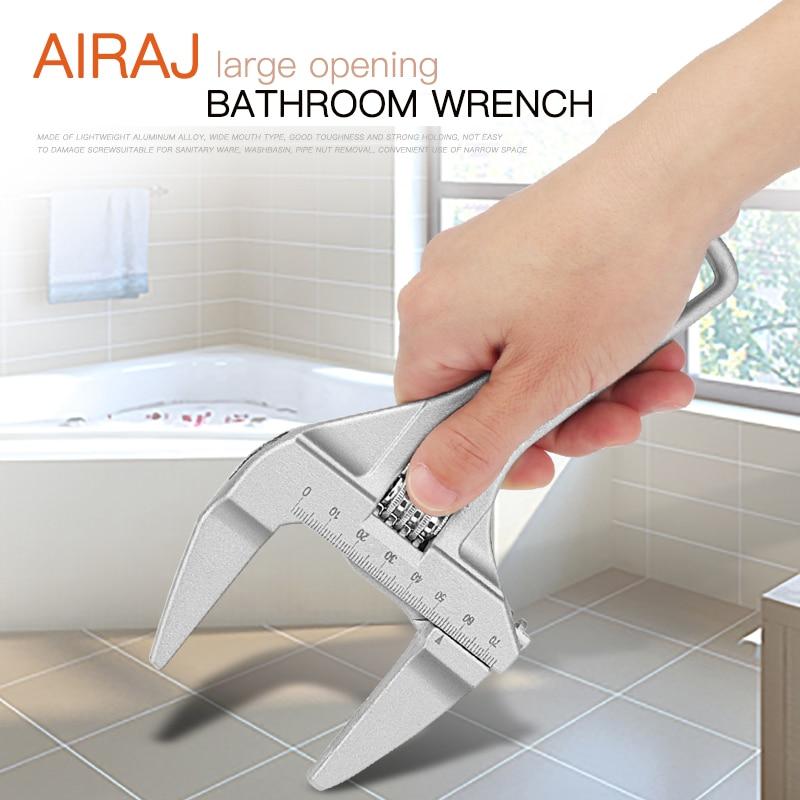 Купить с кэшбэком AIRA Household Universal Wrench Multi-Function Adjustable Bathroom Short Handle Large Opening Aluminum Manual Repair Tools