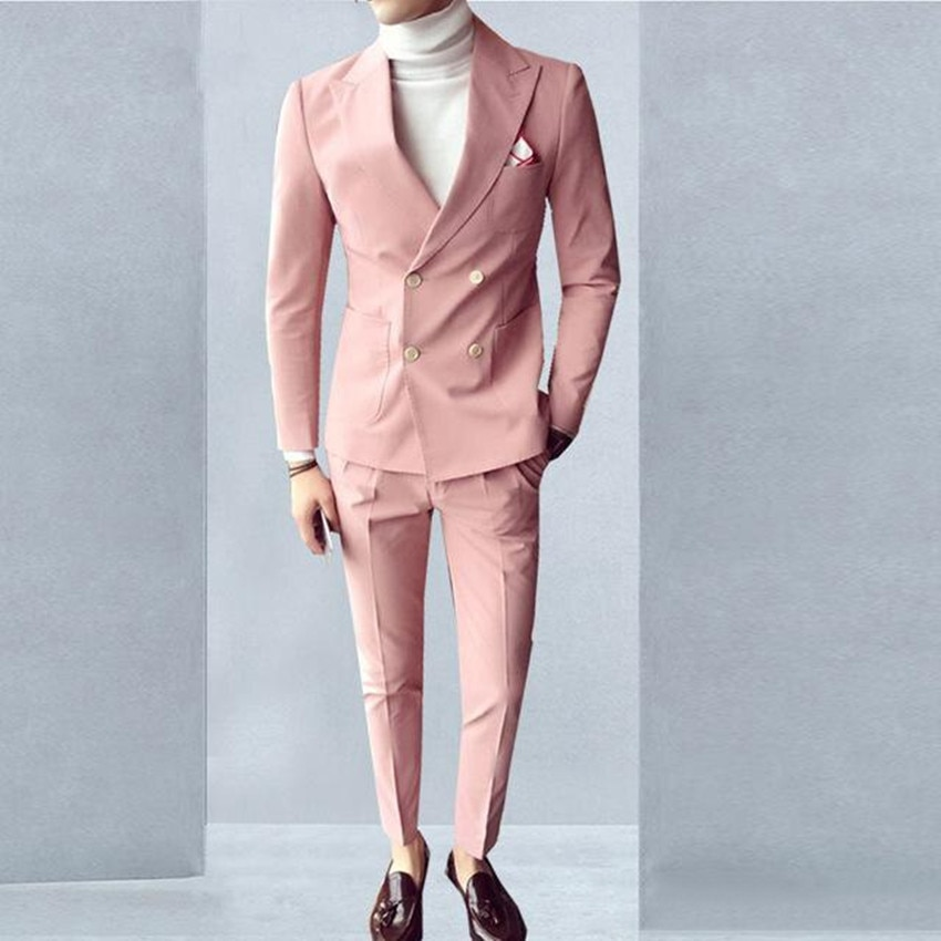 Style Pink Groom Tuxedos Double-Breasted Groomsmen Wedding Tuxedos Men Formal Dinner Party Prom Blazer Suit(Jacket+Pants+Tie)