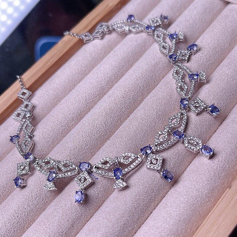 قلادة تانزانيت الطبيعية ، حجر كريم أزرق ، فضة ، سوبر جميلة