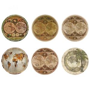 DARMIAN Retro Vintage Map 3D Print Placemats Home Decor Table Mats Heat-Insulated Kitchen Tea Cup Pads Drink Coasters 6Pcs Set