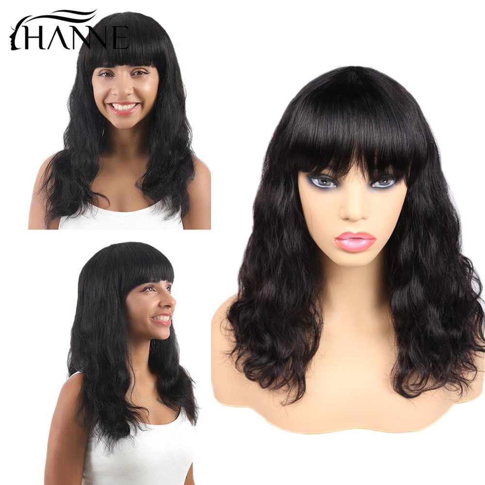 HANNE Brazilian Human Hair Wigs 12 Inches Natural Wavy Bob Wigs with Bangs Natural Color Short Wavy Human Hair Wigs for Women